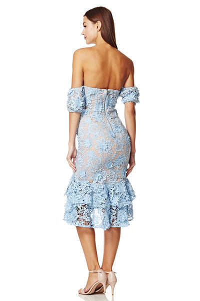 Merrilee Off Shoulder Lace Midi Dress with Ruffle Hem