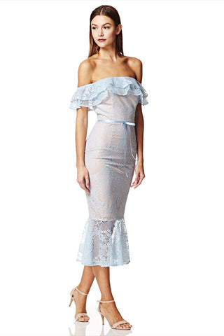 Toril Off Shoulder Lace Midi Dress with Ruffle Detail