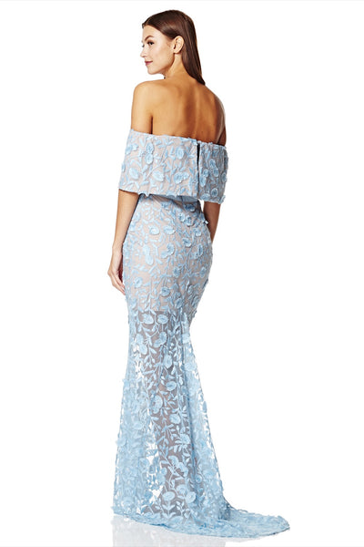 Henna All Layered Bardot All Over Embroidered Lace Maxi Dress