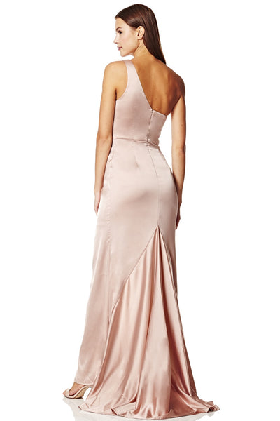 Lisa One Shoulder Slinky Maxi Dress with Pleat Detail