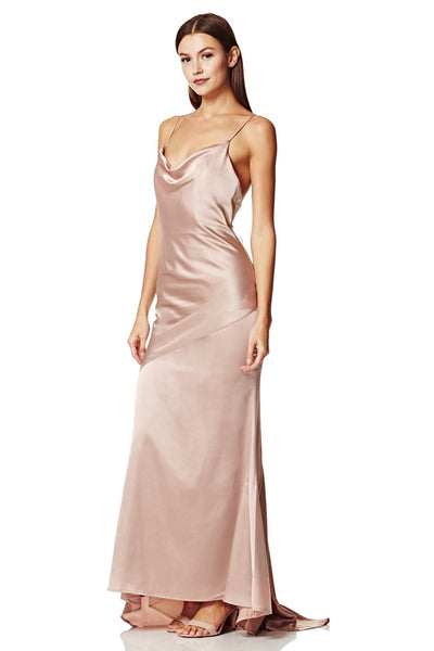 Roxanne Cowl Neck Slinky Maxi Dress with Open Back