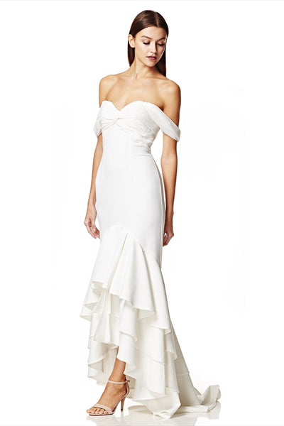Snow Bardot Maxi Dress with High Low Ruffle Train