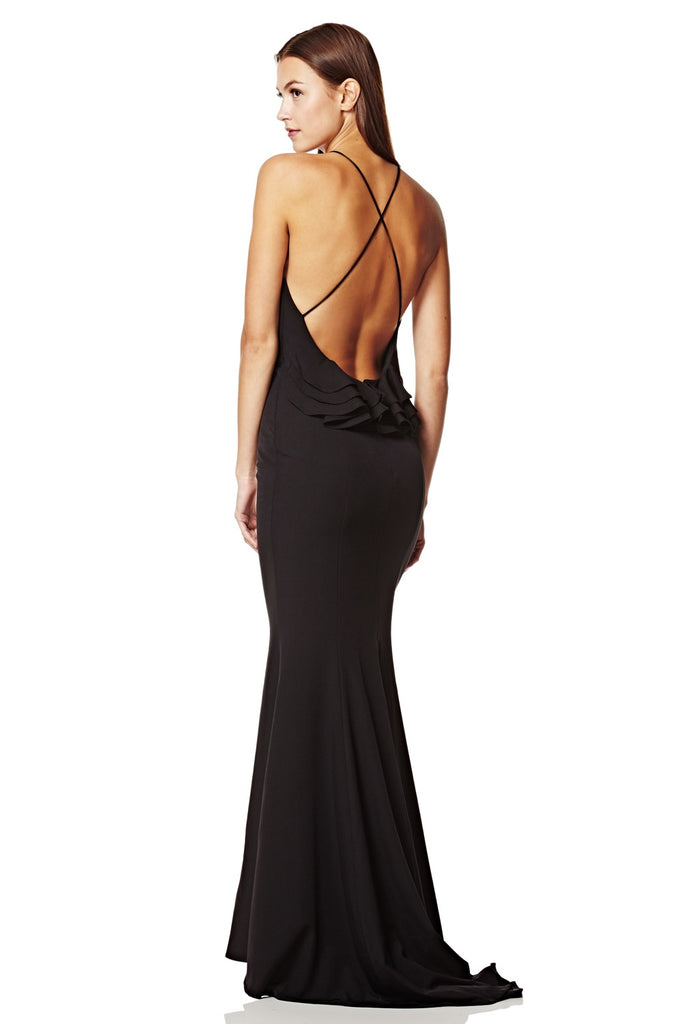 3b3273db8ef Zoe High Neck Fishtail Maxi Dress with Ruffle Open Back