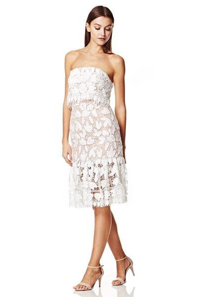 Annora All Over Lace Bandeau Midi Dress