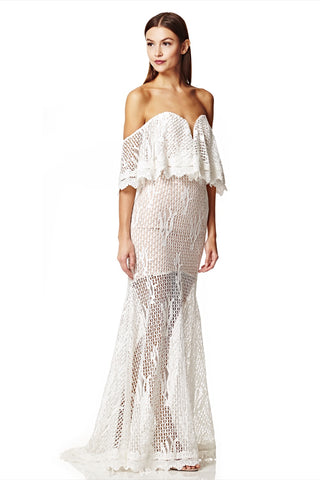 Daviela Off Shoulder Fishtail Lace Dress with Overlay