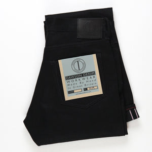 SLIM FIT JEANS : DD010 BLACK X BLACK RED LINE SELVEDGE