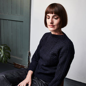 WOMENS GANSY : HAND KNITTED BRITISH WORSTED WOOL