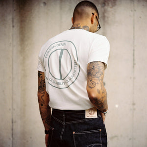 DAWSON LOGO PRINTED 9OZ BRITISH MADE ORGANIC CREW NECK TEE