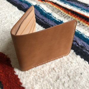 Natural vegetable dyed bi fold wallet