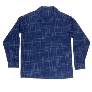 MENS LONG SLEEVE SPORTS SHIRT : DD024 INDIGO KASURI