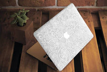 White Floral Macbook Case