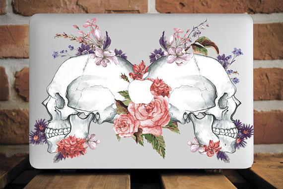 Skulls Roses Watercolor Macbook Case