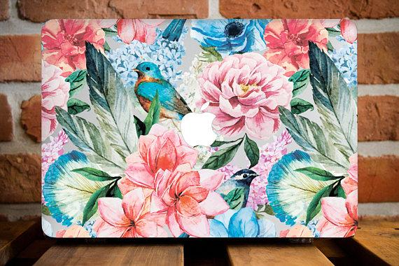 Bird Floral Macbook Case