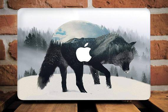 Black Wolf Macbook Case