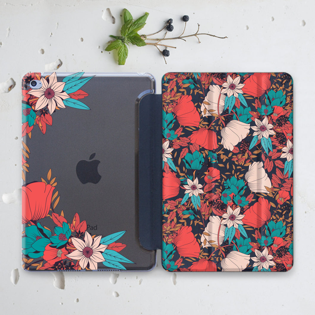 Red Flowers Indivisible iPad Case+Smart Cover