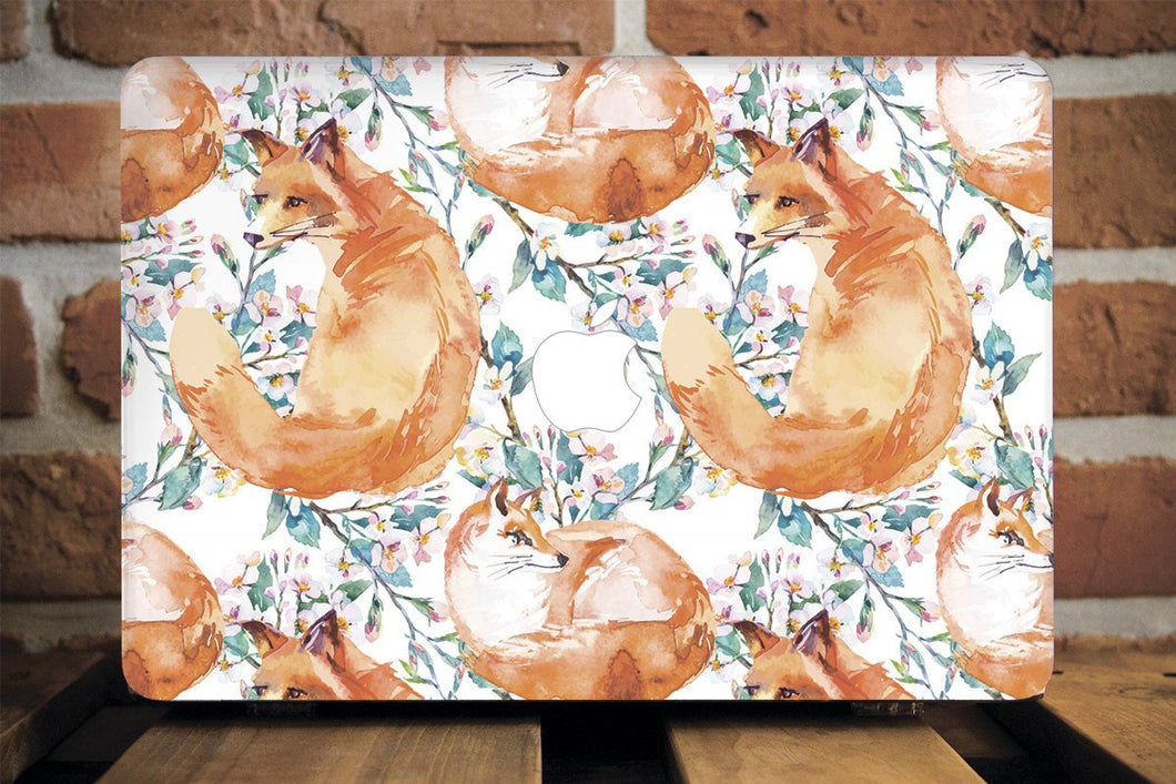 Floral Fox Macbook Case