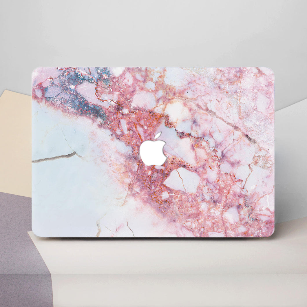 White Pink Marble Macbook Case