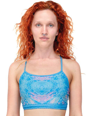 entwined acqua print sportsbra yoga clothing and activewear