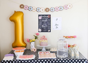 Custom printable file or print birthday posters in all sizes donut