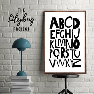 Black monochrome alphabet digital printable file or print by The Lilybug Project