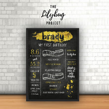 Custom printable file or print birthday posters in all sizes gold chalkboard