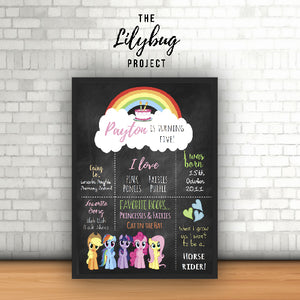 Custom printable file or print birthday posters in all sizes my little pony