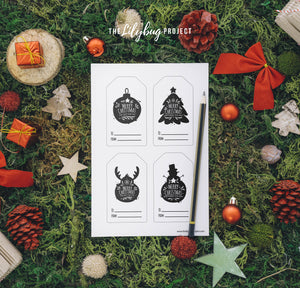 Monochrome Christmas Tags