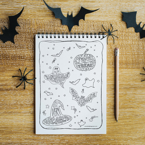 Halloween free colouring activity page by The Lilybug Project