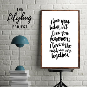 I love you romantic digital printable file or print by The Lilybug Project