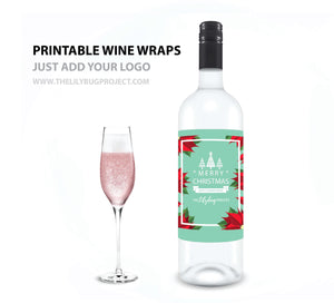 Printable wine bottle wrap label for business gift