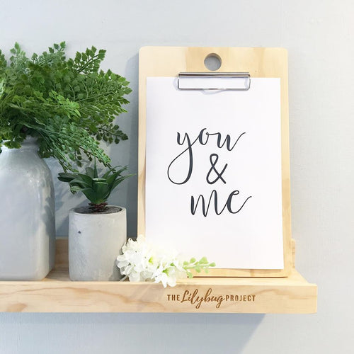 You and me romantic digital printable file or print by The Lilybug Project