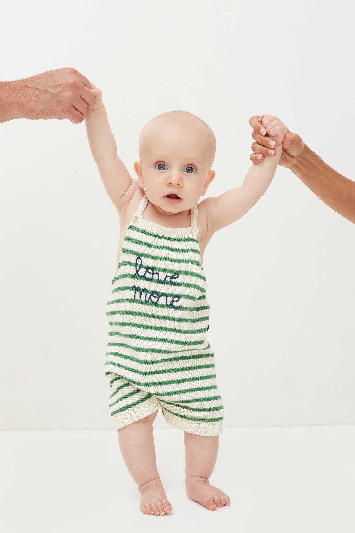 OEUF -Knit Romper - White/Green Stripes
