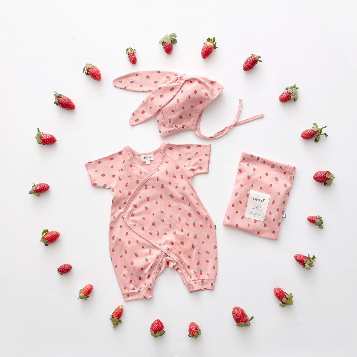 OEUF - Baby Bunny Set - Rose/Strawberries