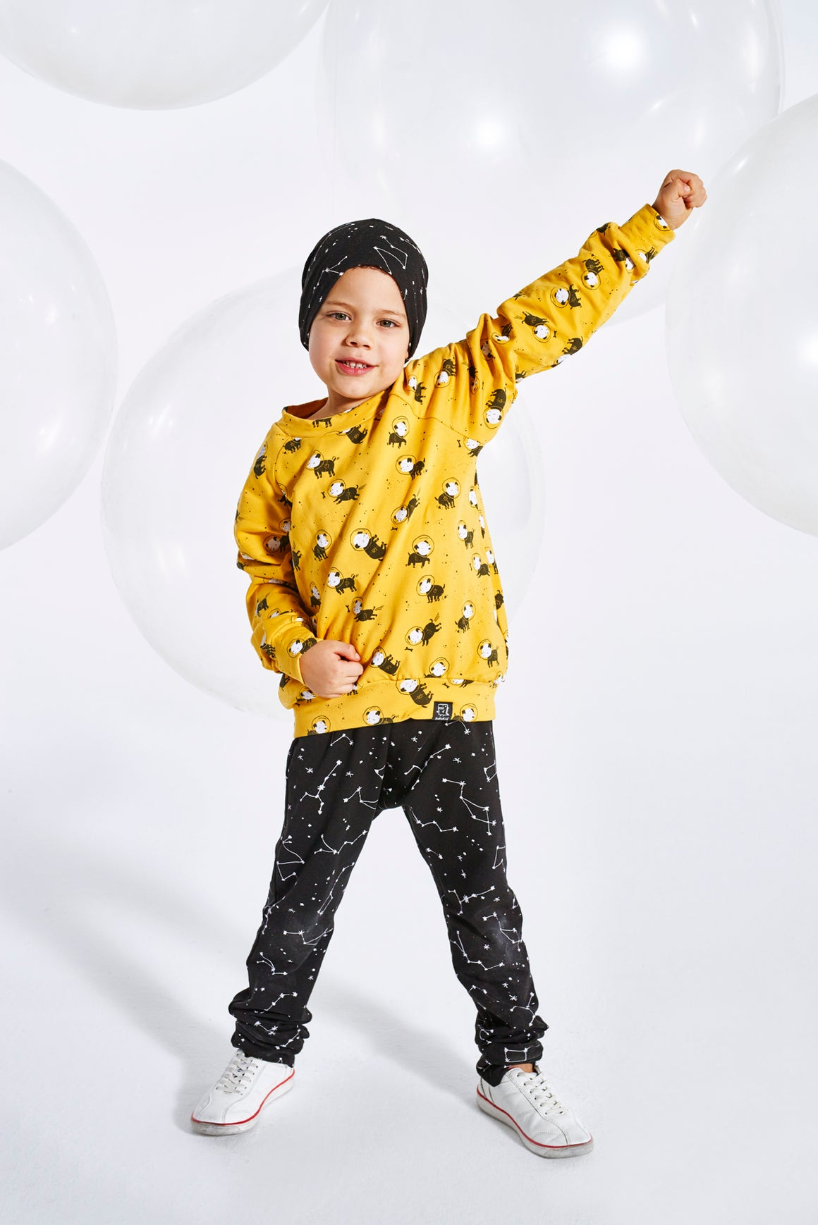 KUKUKID Baggy Pants - Black Constellation