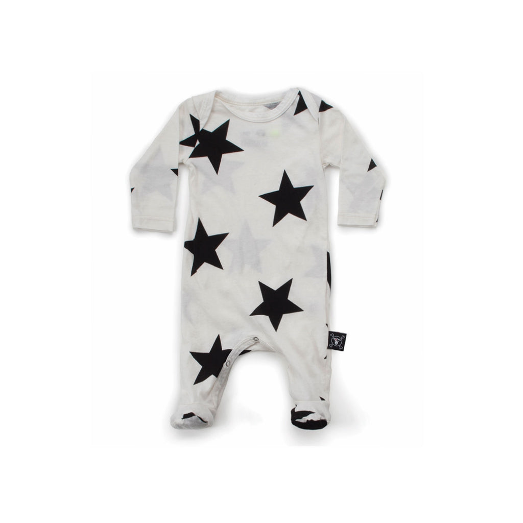 NUNUNU - Star Footie Overall - White - Last One!! Size: 3-6M
