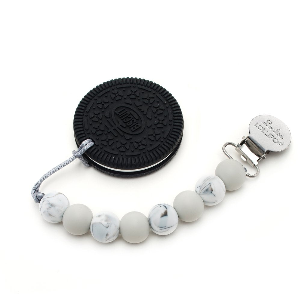 LOULOU LOLLIPOP Cookie Silicone Teether Holder Set - Marble Gray