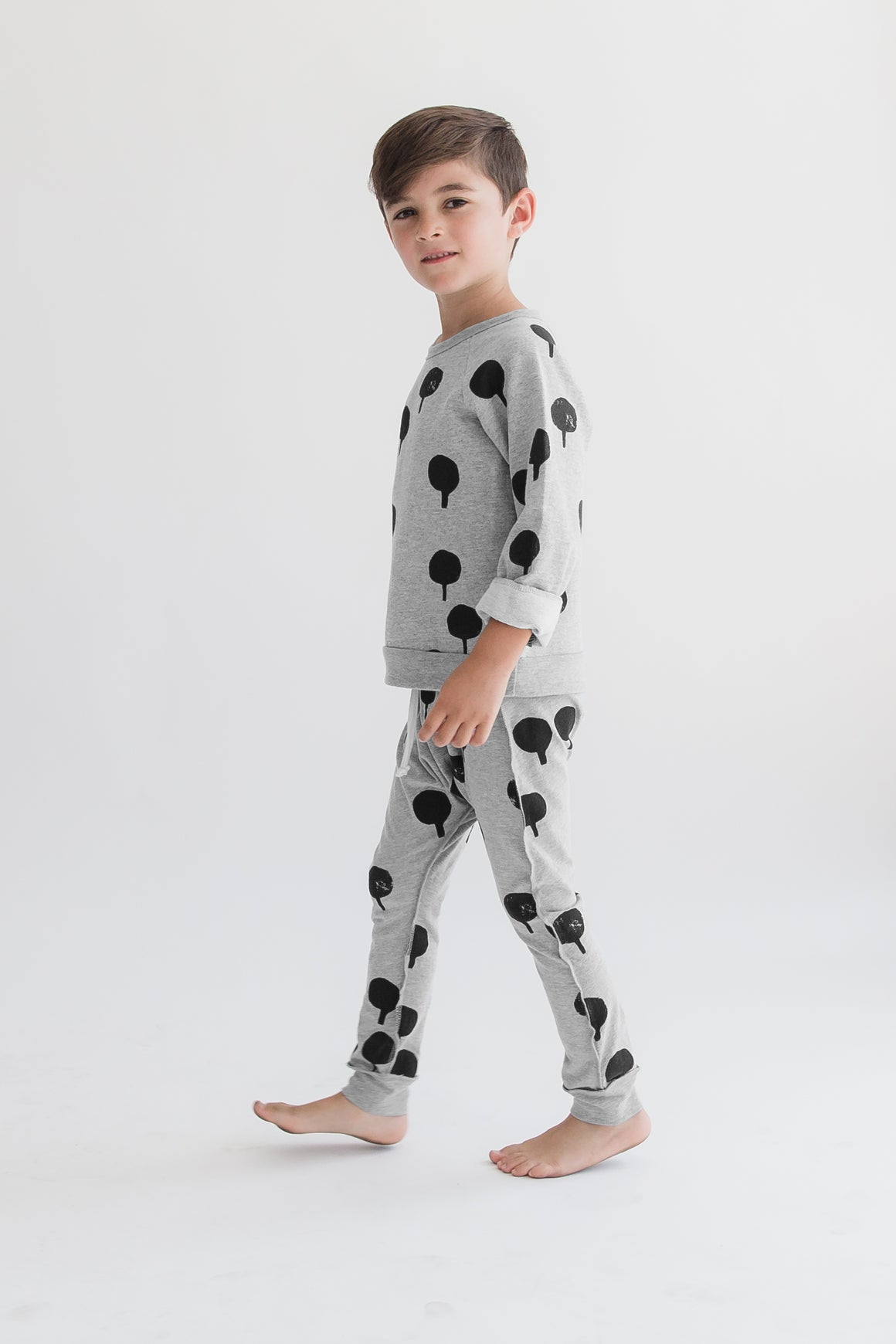 KID + KIND 'Tree Stamp' Skinny Pant - Heather Grey - Last One!! Size: 12-18M