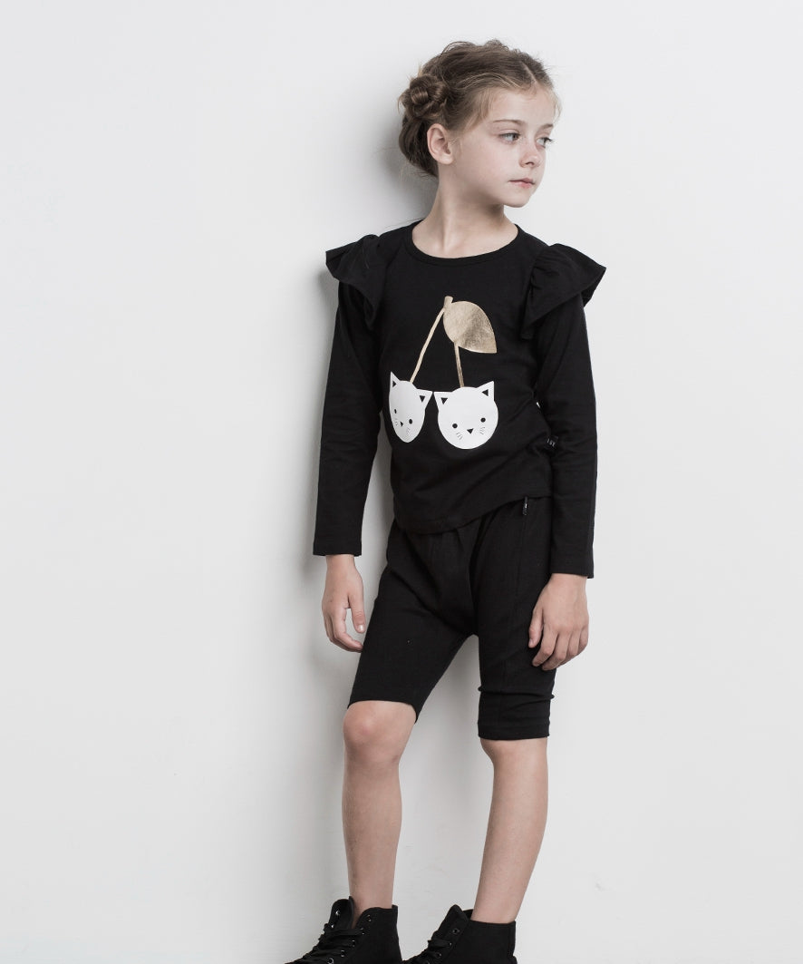 HUXBABY Black Frill Long Sleeve Top - Last One!! Size: 3Y
