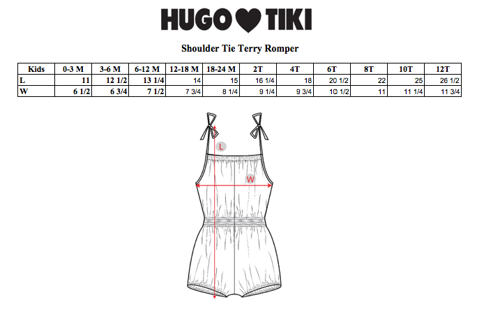 HUGO LOVES TIKI - Terry Shoulder-Tie Romper - Pink Seashells