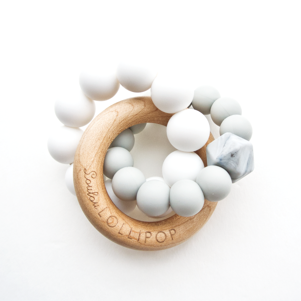 LOULOU LOLLIPOP Trinity Silicone And Wood Teether - Cool Grey