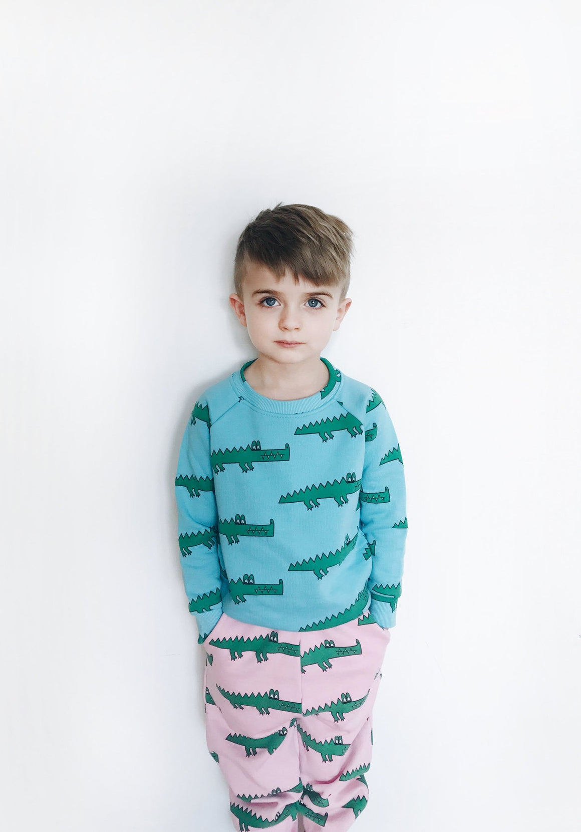 HUGO LOVES TIKI - 80's Sweat Pants - Pink Crocodile - Last One!! Size: 4T