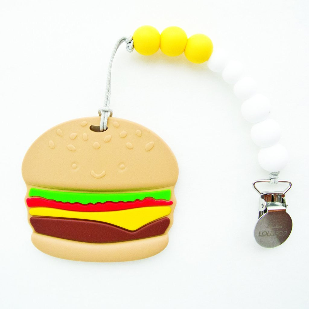 LOULOU LOLLIPOP Burger Silicone Teether With Holder