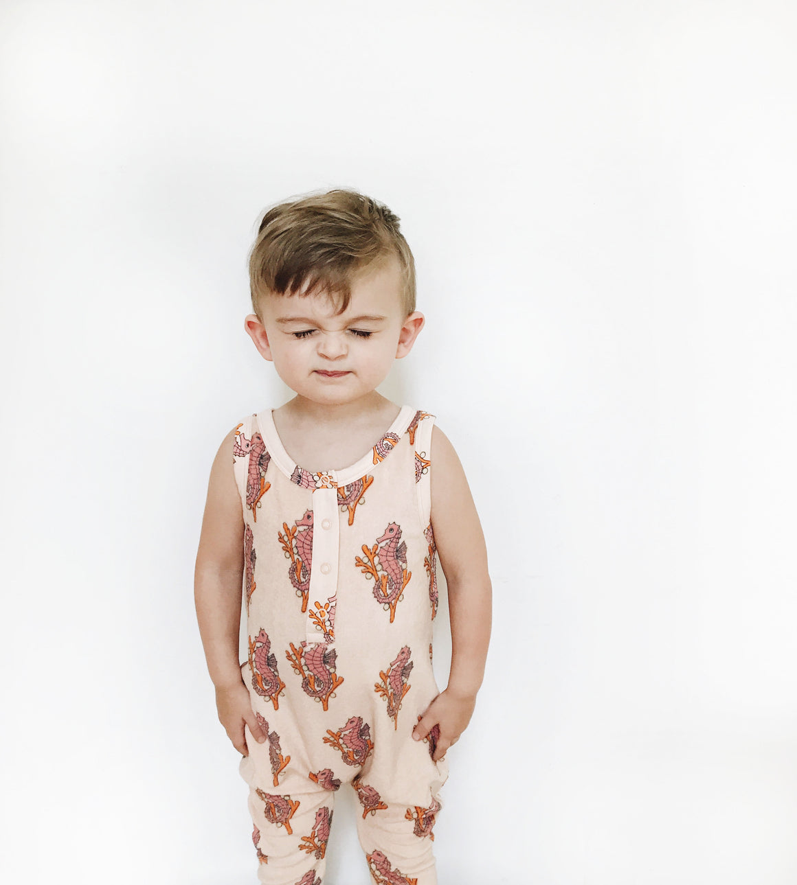 HUGO LOVES TIKI - Long Leg Terry Romper - Cream Seahorse - Last One!! Size: 4T