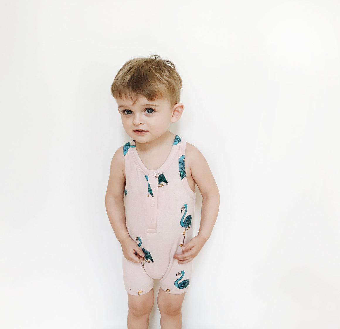 HUGO LOVES TIKI - Short Leg Terry Romper - Pink Flamingos