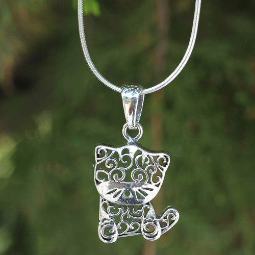 filigree kitten necklace