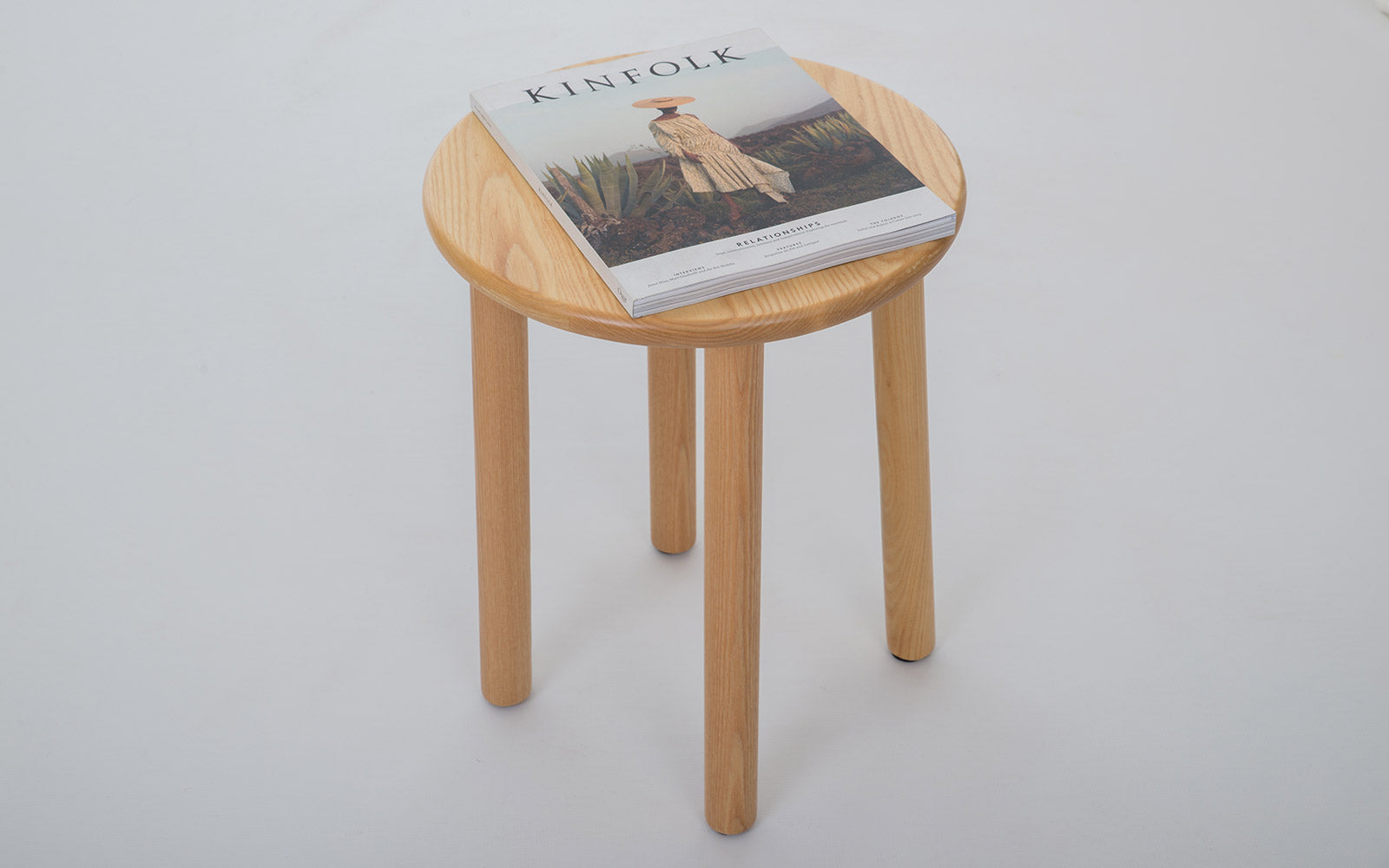 Solid Ash Milk Stool Sidetable