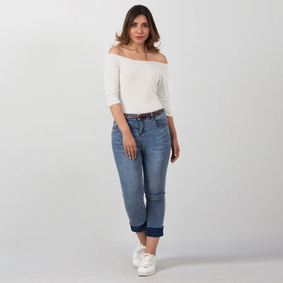 Slim Off Shoulder Top , VANILLA TOP
