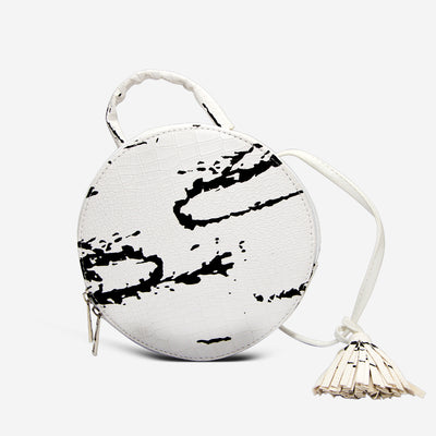 Marble Circle Crossbody Bag , VANILLA TOP