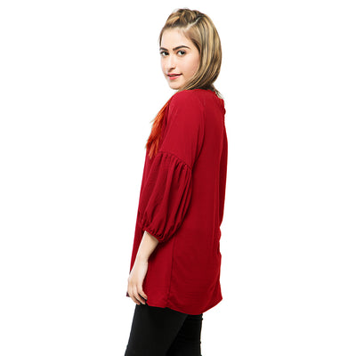 Puff Sleeve Peasant Top , VANILLA TOP