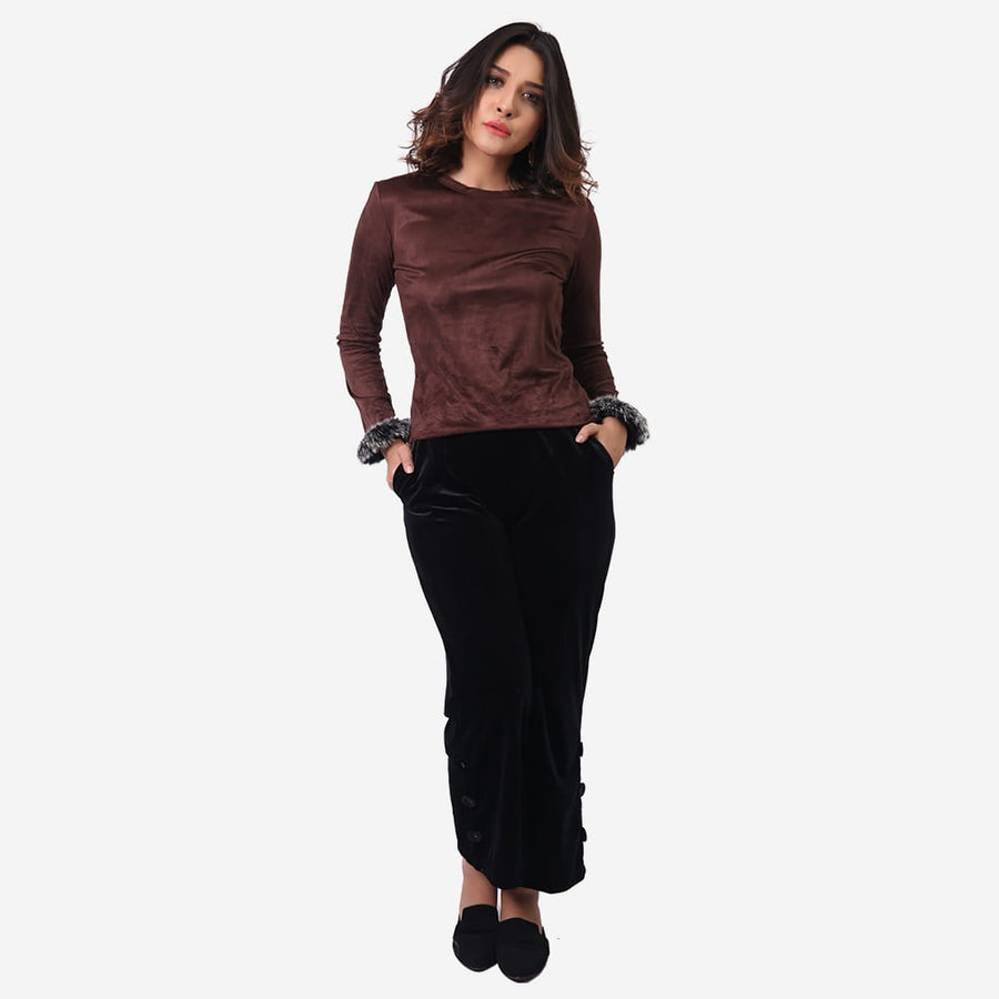 Faux Velvety Top
